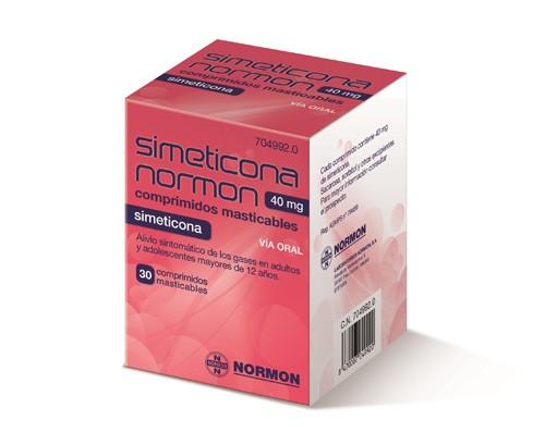 SIMETICONA NORMON 40 MG COMPRIMIDOS MASTICABLES , 30 comprimidos