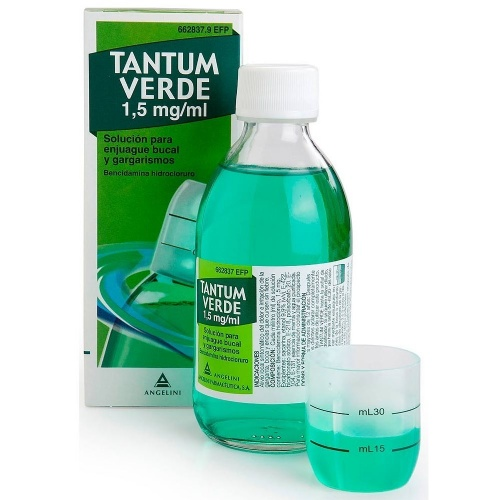 TANTUM VERDE 1,5 mg/ml SOLUCION PARA ENJUAGUE BUCAL Y GARGARISMOS , 1 frasco de 240 ml